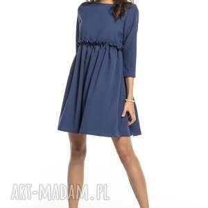 elegancka sukienka marszczona pod biustem, t284, granatowa, elegancka