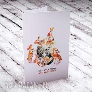 Zające... karteczka wielkanocna, kartka, życzenia, okolicznościowe, zające