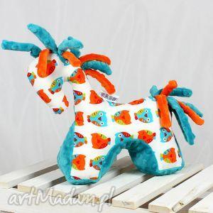 ręcznie wykonane zabawki koń turkus - przytulanka sensoryczna