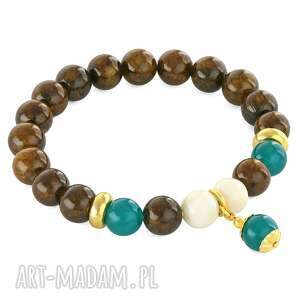 brown, ivory sea-green with bead pendant - jadeit, morski bransoletki