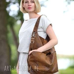 torebki brązowa torba w kształcie worka z zamszu ekologicznego, torebka