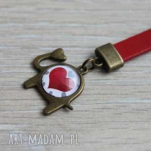 Czerwony brelok słonik , breloczek, słoń, serce, serduszko, skóra, skórzany