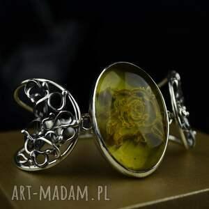 bransoleta z bursztynem w stylu retro srebro, bursztynem