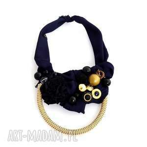 oheve handmadedesign royal naszyjnik handmade, naszyjnik, granatowy, złoty