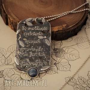 Srebrny naszyjnik - przesłannik z kianitem, srebro, cytaty, nieśmiertelnik,