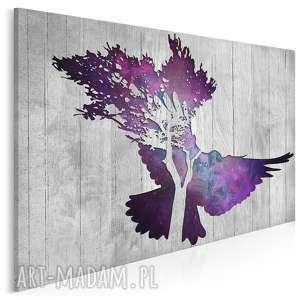 obraz na płótnie - gołąb 120x80 cm 33401, gołąb, ptak, deski, drewno