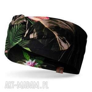 wiosenna opaska na głowę z węzłem kolorowa, bawełna, elastan, print, węzeł