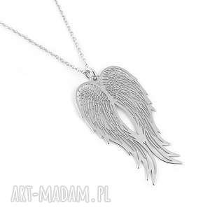 srebrny naszyjnik 50cm skrzydła anioła pudełko - srebrny, naszyjnik