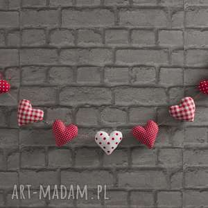 ręcznie wykonane dekoracje walentynkowa czerwona girlanda