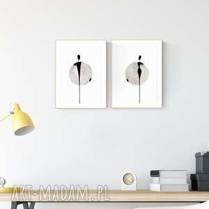 obrazy zestaw 2 obrazków a4 malowanych ręcznie, abstrakcja