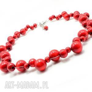 ręcznie robione naszyjniki czerwone korale, naszyjnik z kulek drewnianych