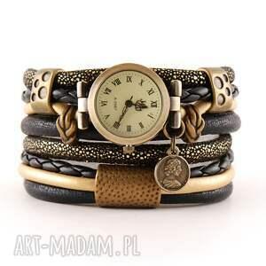 hand-made zegarki zegarek - bransoletka, owijany, czarno złoty z monetą