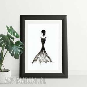 akt kobieta, grafika 30x40 cm wykonana ręcznie, abstrakcja, elegancki minimalizm