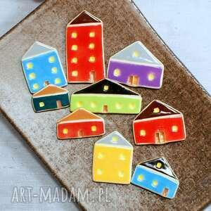 magnesy kolorowe domki - zestaw magnesów, domki, miasteczko