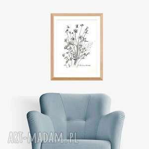 obraz akwarela czarno biała a4 wykonana ręcznie, kwiaty, elegancki minimalizm
