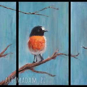 obraz - ptaki akryl na płótnie, tryptyk, obraz, ptak, płótno, malowany