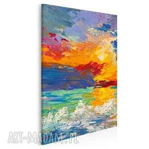 obraz na płótnie - abstrakcja morze fale kolorowy w pionie 50x70 cm 89103