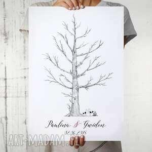 księgi gości drzewo wpisów - pamiątkowy plakat do odcisków i podpisów 40x50 cm