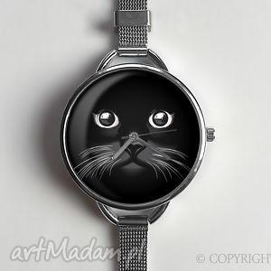 ręcznie wykonane zegarki kocia mordka - zegarek z dużą tarczką 0877ws