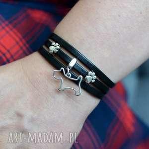 ręcznie robione bransoletka skórzana magnetoos triple dog&paws czarna