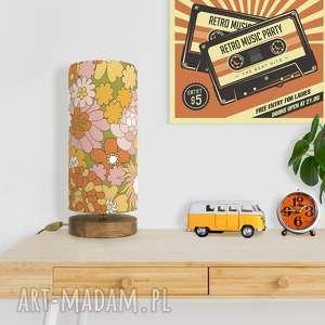lampa stołowa retro dzieci kwiaty, retro, vintage, drewno, bawełna, design