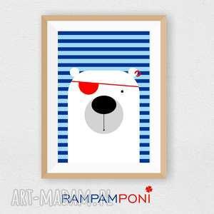 plakat dla dzieci miś pirat a4 - miś, marynarski, plakat, dziecko, pokoik