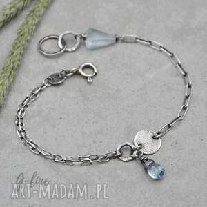handmade srebrna bransoletka z akwamarynem - 126