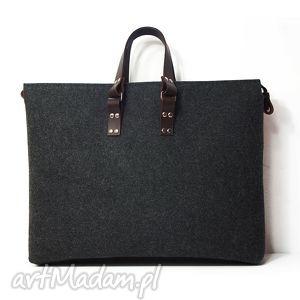 męskie męska filcowa torba ul szeroka, filc, skóra, męska, duża, laptop, sportowa