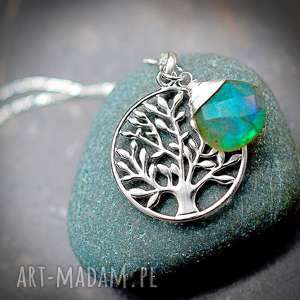 hand-made naszyjniki 925 srebrny łańcuszek drzewo życia i labradoryt