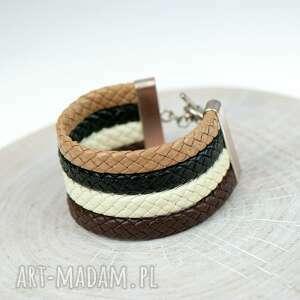 ręcznie zrobione bransoletka z grubych plecionych rzemieni b325