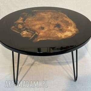 stoły okrągły stolik kawowy z żywicą, stolik, platan, drewno, połysk, żywica
