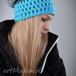 czapka triquence 06 - błękitna, czapka, szydełko, włóczka, wełna, ciepła