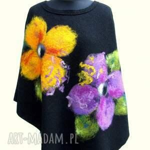 ręcznie wykonane poncho ponczo w kwiaty