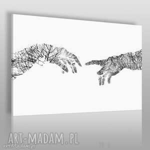 obraz na płótnie - dłonie dotyk 120x80 cm 41801, dłonie, dotyk, stworzenie, drzewa