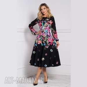 sukienka aniela total midi belinda, sukienka, midi, kwiaty, jesień, długi