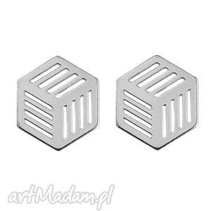 sotho srebrne kolczyki sześciany - minimalistyczne, geometryczne delikatne