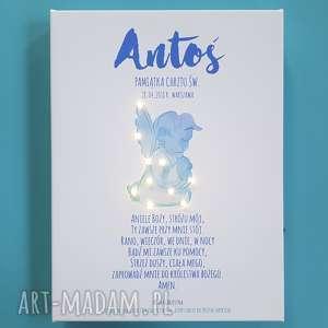 ręcznie wykonane dla dziecka pamiątka chrztu obraz led modlitwa aniołek dla chłopczyka prezent