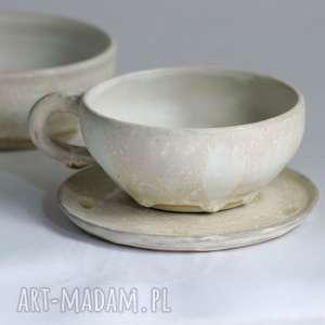 zestaw - filiżanka do kawy cukiernica cappuccino oryginalne rękodzieło, komplet