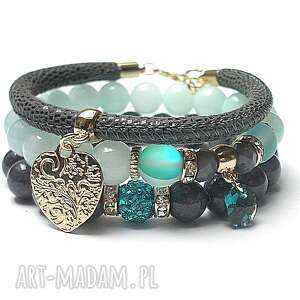 Grey and baby blue vol. 14 /14.03.17/ - set, jadeity, kwarc, swarovski, rzemień