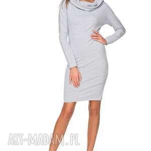 sukienka dresowa z szerokim kominem t191, jasnoszary, sukienka, dresowa, szeroki