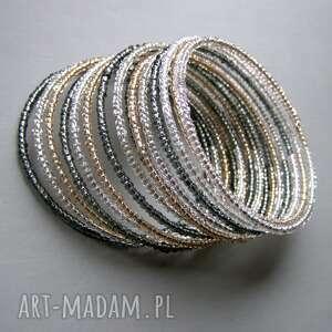 pamięciowa srebrno-złota, bransoletka, koraliki
