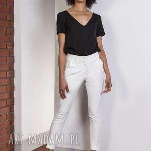 spodnie z wysokim stanem, sd115 ecru, spodnie, eleganckie, rurki, klasyczne