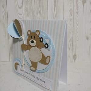 Zaproszenie / kartka misiek z balonikiem, misiu, sesja, roczek, urodziny, chrzest