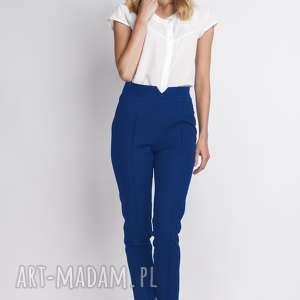 Spodnie z wysokim stanem, SD112 indygo, spodnie, rurki, wysokistan, zamek, eleganckie