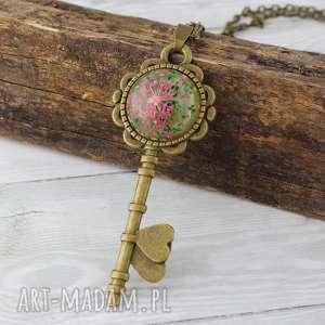 wisior klucz - prawdziwy kwiat, klucz, suszony, żywica, vintage, prezent