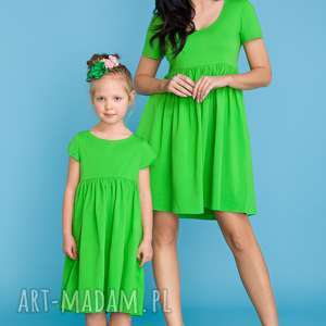 KOMPLET DLA MAMY I CÓRKI, sukienka letnia odcinana pod biustem, zielony,