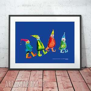 plakaty obrazek z krasnalami, krasnoludki plakat, do dziecięcego pokoju