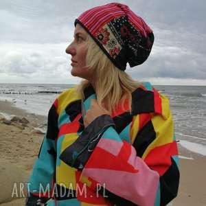 Czapka cekiny boho patchworkowa handmade czapki ruda klara