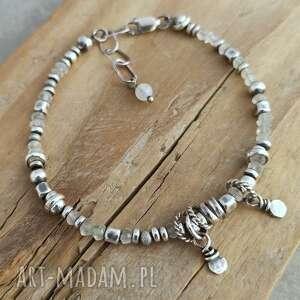 Surowa srebrna bransoletka z kamieniem księżycowym cejlonu grey