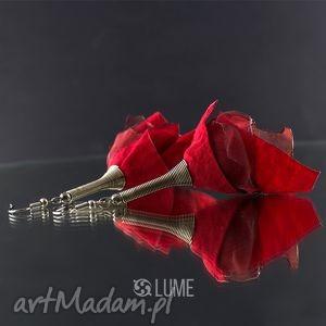 Kolczyki materiałowe czerwone, kolczyki, eleganckie, długie, lekkie,